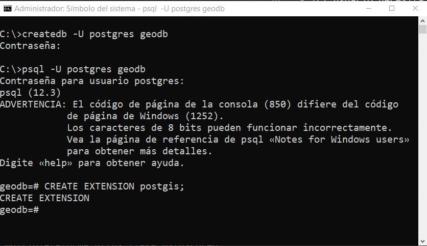 Creación de base de datos con PostGIS desde la consola psql