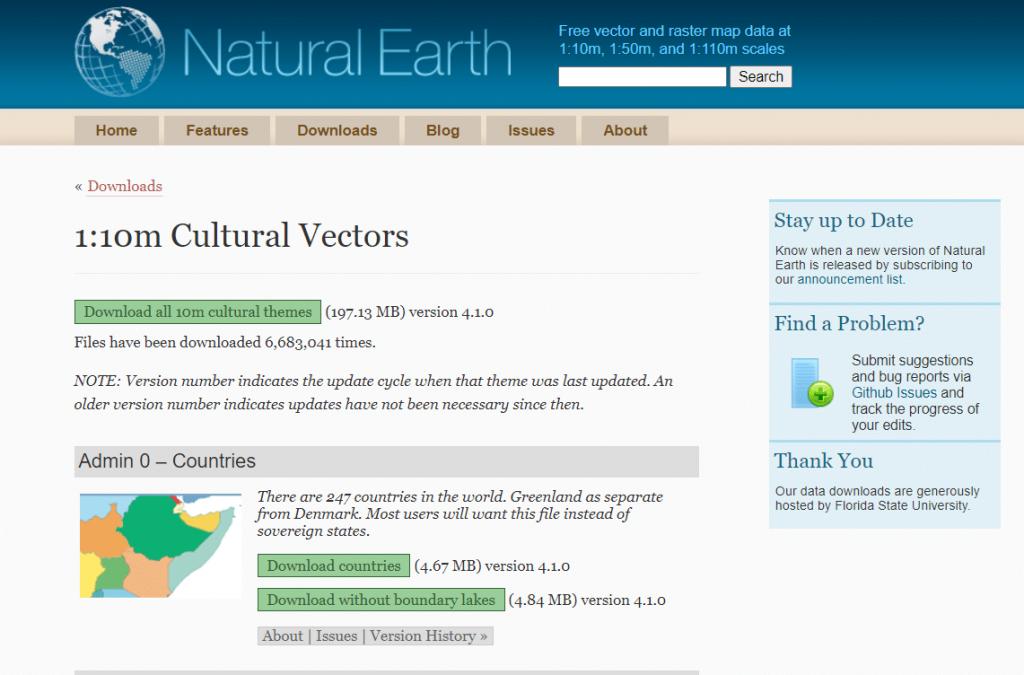 Repositorio de capas Natural Earth