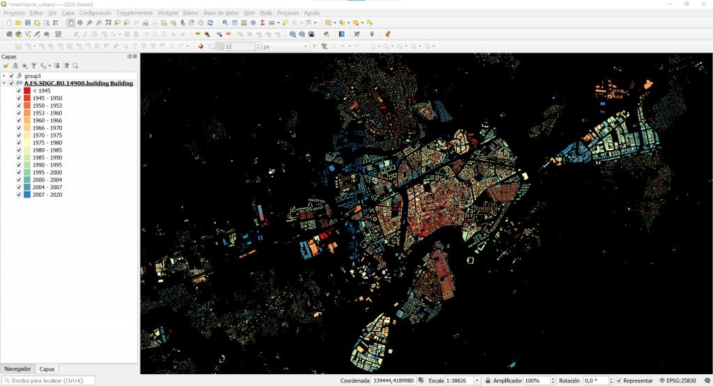 Ejemplo de fondo de color del canvas en QGIS