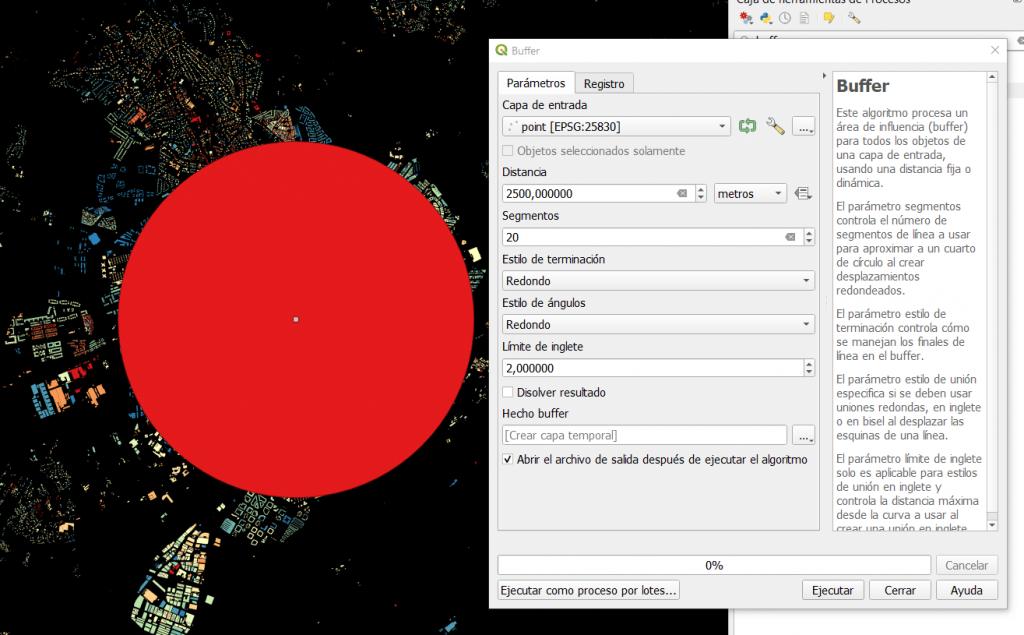Área de influencia o buffer generado con QGIS