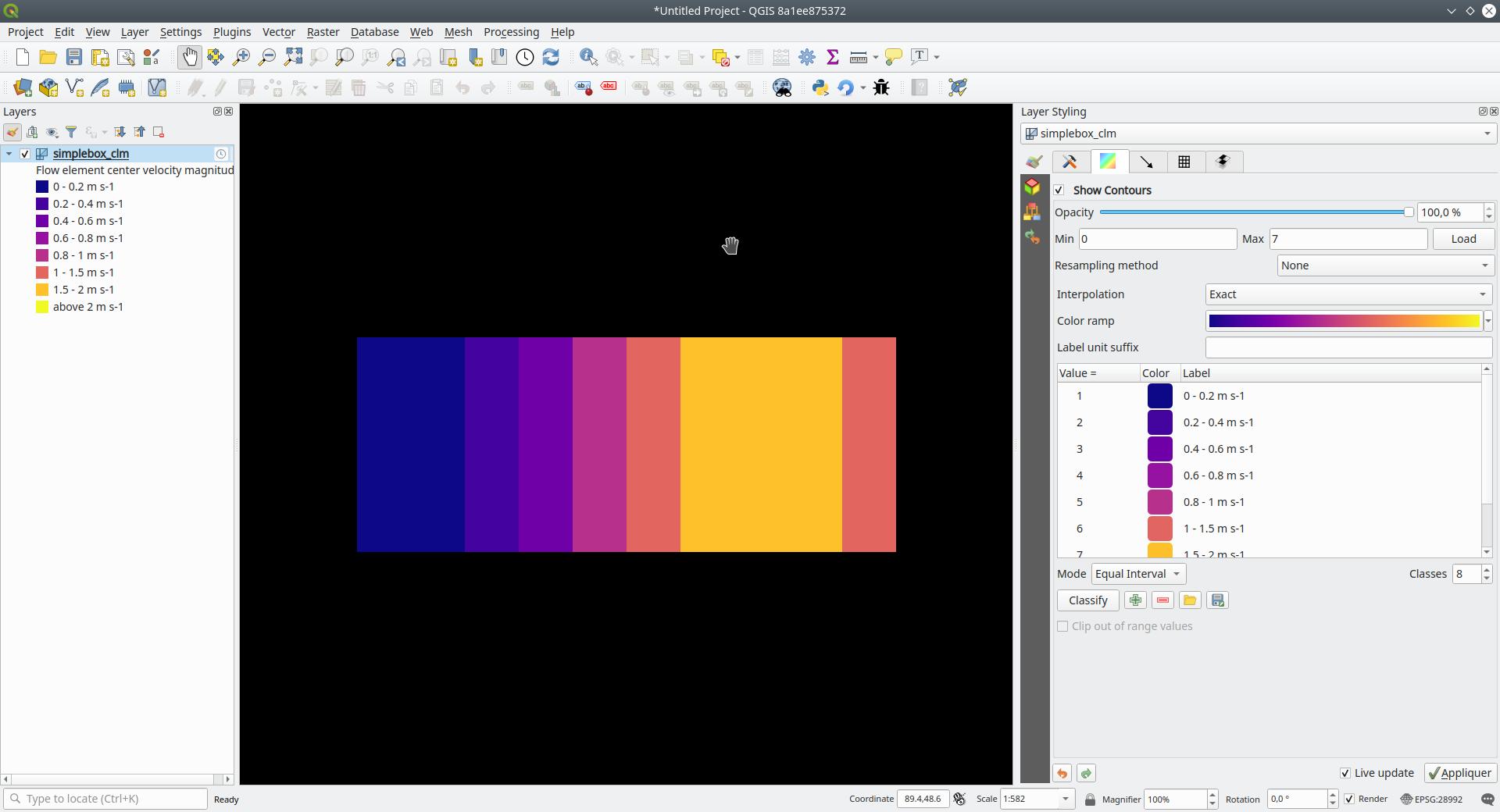 Color para clasificación de datos de malla. Fuente: Lutra Consulting