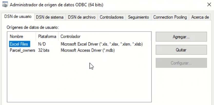 Administrador de origenes de datos ODBC