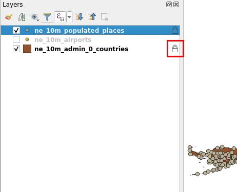 Indicador de bloqueo de capas en QGIS 3.4 Madeira