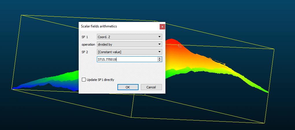 Ejemplo de calculadora SF en CloudCompara para normalizar campos escalares