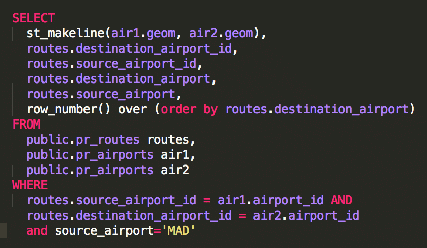 código de programación en SQL postgis-líneas-select