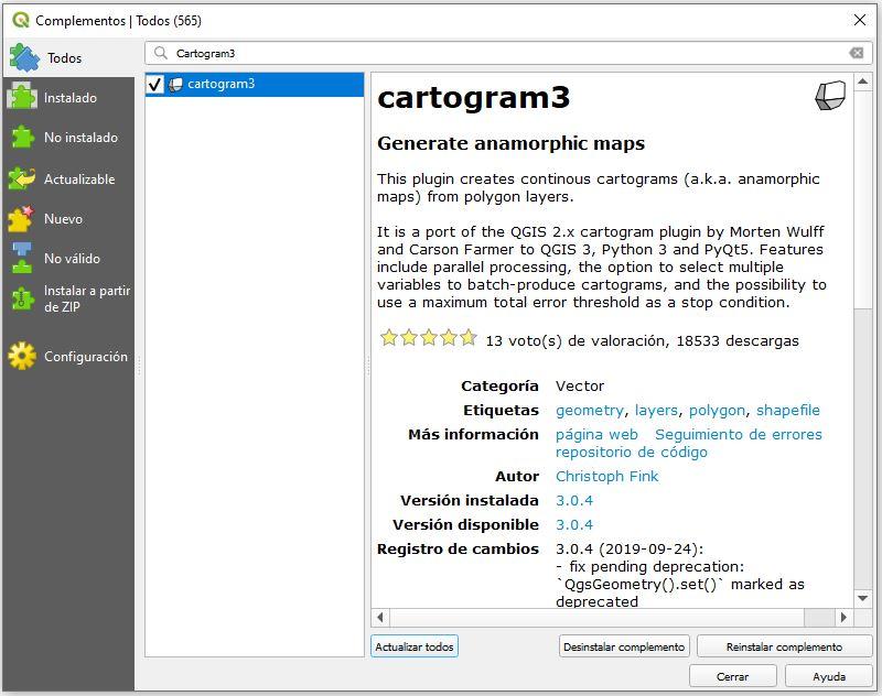 Plugin Cartogram3 de QGIS