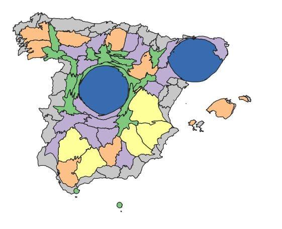 Cartograma de España