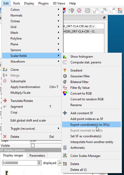 Exportar coordenada Z como un campo escalar alternativo.