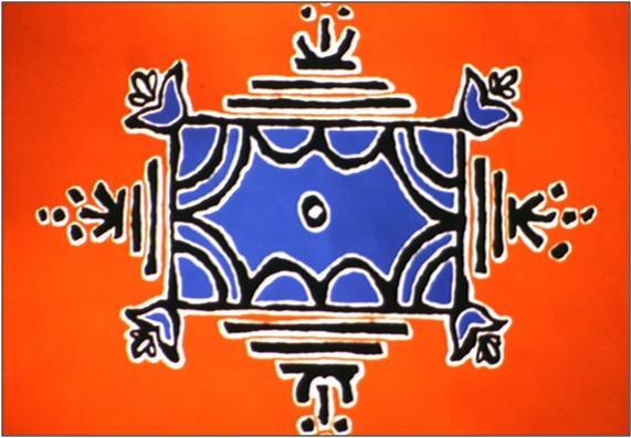 Representación gráfica de un kund: Los 4 lados representan las escaleras y los árboles sobre ellas, las 4 esquinas las flores que nos ofrecen sus fragancias, y en el centro el agua como el centro de nuestras vidas. Fuente: https://www.ted.com