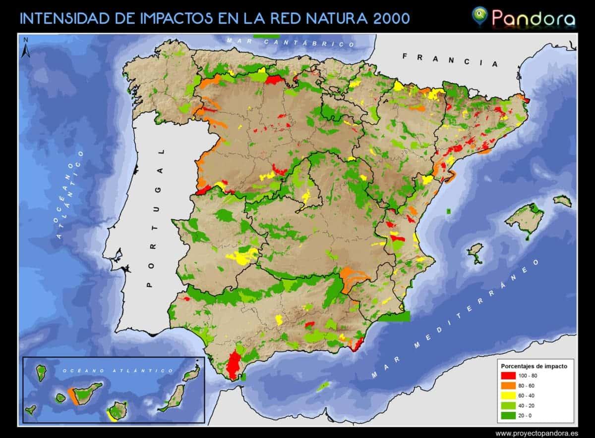 Intensidad Impactos Red Natura 2000 EUNIS