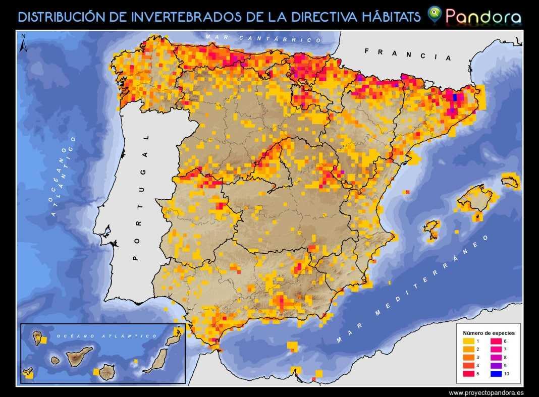 DISTRIBUCIÓN INVERTEBRADOS ESPAÑA DIRECTIVA HÁBITATS