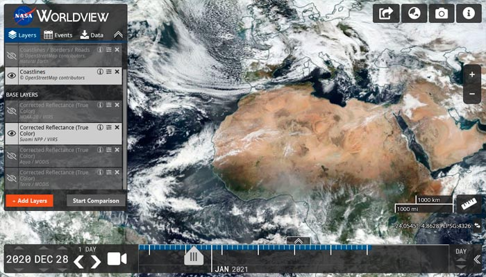 Visor de descarga de imágenes satelitales de la NASA