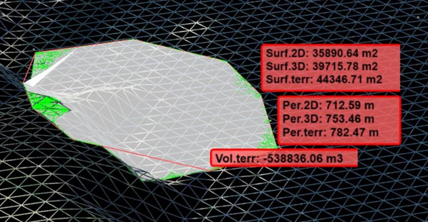Cartografía web 3D Métricas de superficie y volumen