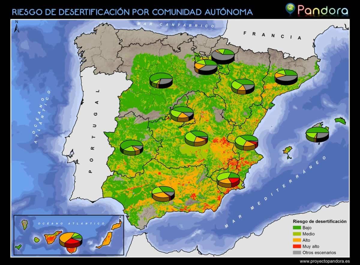 Mapa autonómico español del riesgo de desertificación