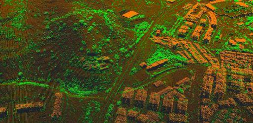 Clasificación de edificaciones y vegetación LiDAR. Fuente: PNOA-LIDAR