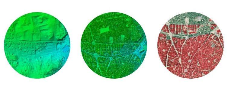 Productos derivados de PNOA-LIDAR. De izquierda a derecha: MDT, MDS y Mapa LiDAR. Fuente: PNOA-LIDAR