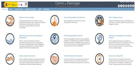 Portal del Centro de Descargas del CNIG. Fuente: CNIG