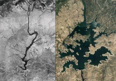 Comparativa Foto Aérea Vuelo Americano (años 50) y PNOA Máxima Actualidad. Fuente: imagen propia