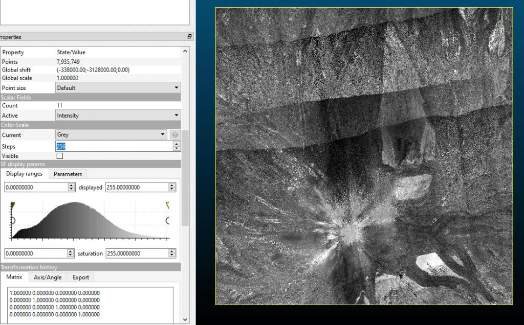 Nube de puntos Teide visualizada por intensidad