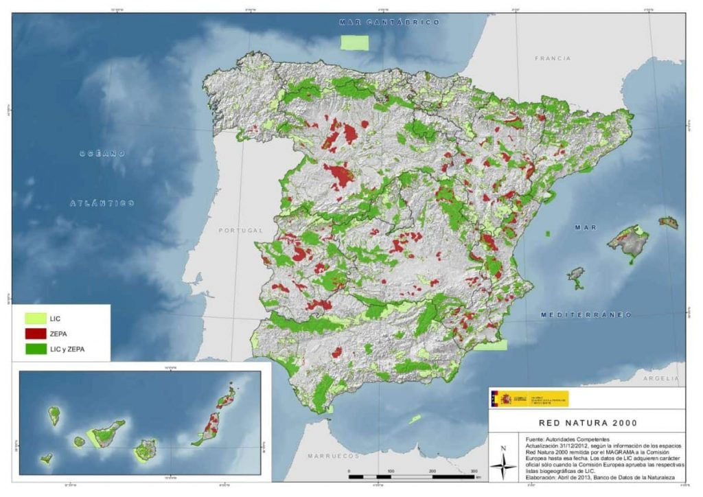 Territorios de España protegidos por la REd Natura 2000