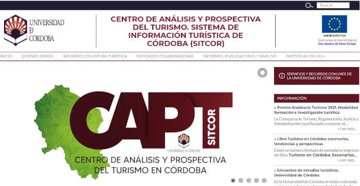 Página web del Centro de Análisis y Prospectiva del Turismo (CAPT) de la Universidad de Córdoba