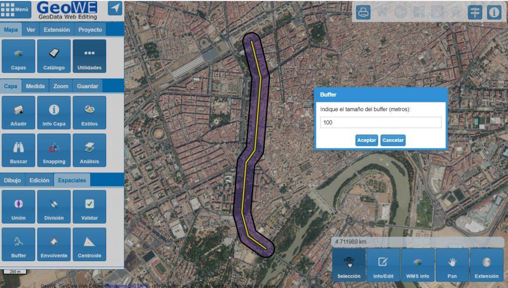 Área de influencia (buffer) con SIG Web GeoWe