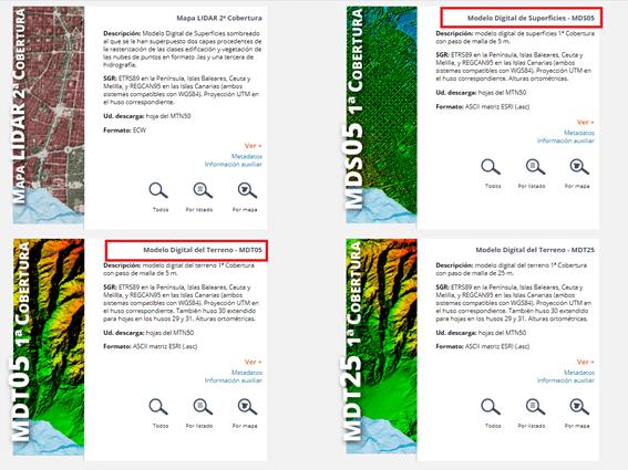 Modelos Digitales de la web del CNIG