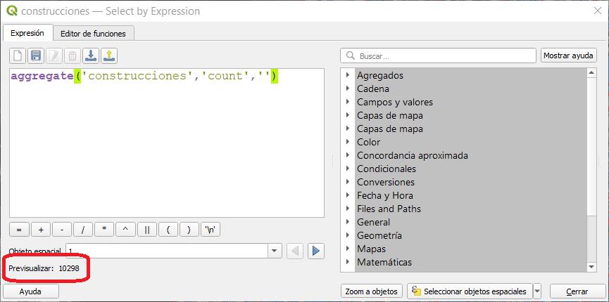 Función de agregación de recuento (count) en QGIS
