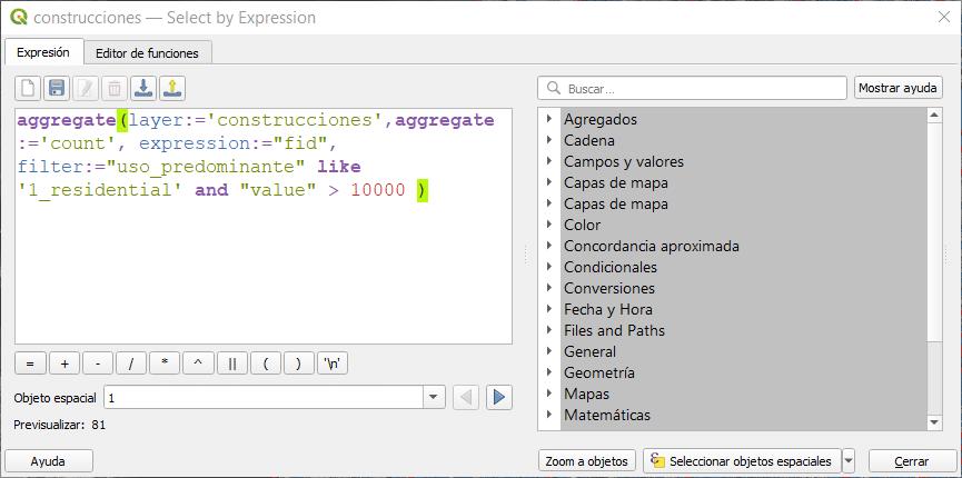 Función de agregación con filtro por atributos