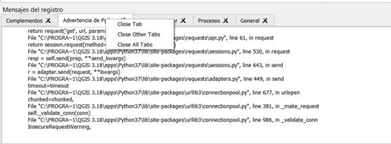 Cierre de pestañas Panel de mensajes  QGIS 3.18 Zürich