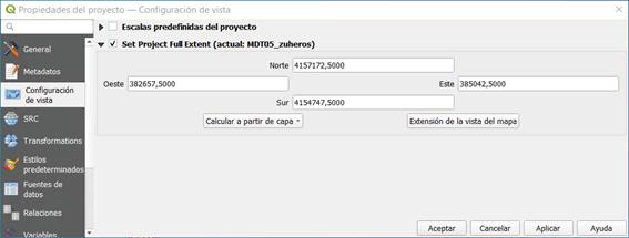 definir la extensión total del proyecto QGIS