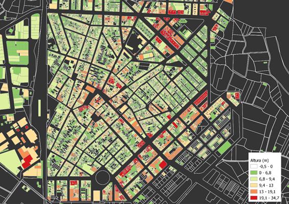 Mapa de clasificación de edificaciones por altura calculada para el Plan de Emergencia Sísmica de Benifaió