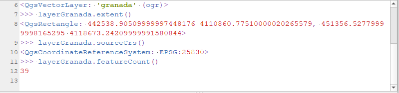 Uso de métodos de la clase QGSVectorLayer