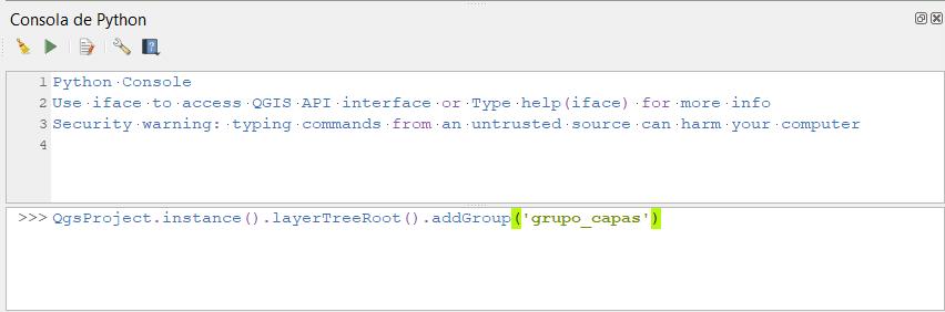 Código Python en la consola de QGIS