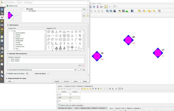 Uso de SVG dinámicos con campos en QGIS