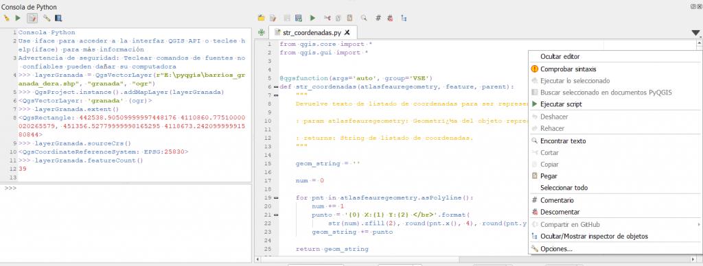 Editor de script de Python de QGIS