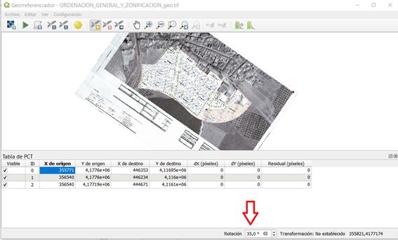 Opción de rotar la imagen cuando estamos usando el Georrefenciador de QGIS