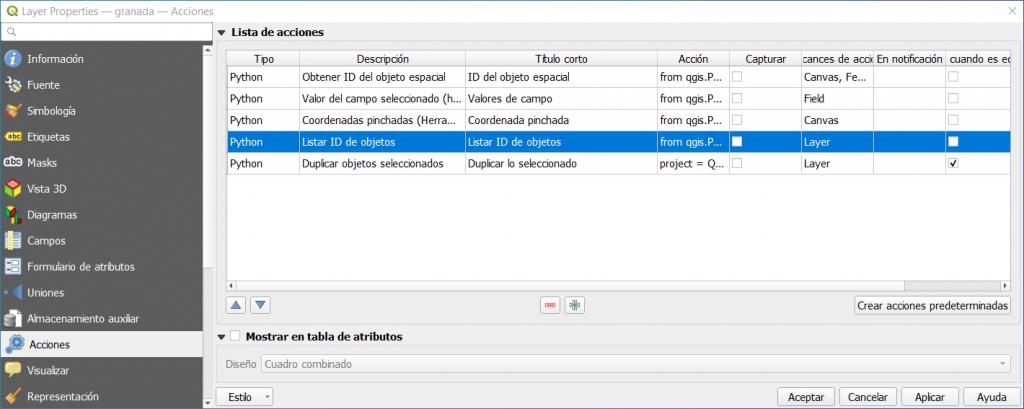 Listado de acciones de capa de tipo Python por defecto en QGIS