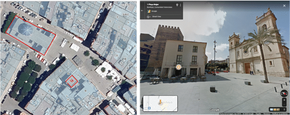 Ejemplo de construcciones históricas con información de una planta e imagen en Street View