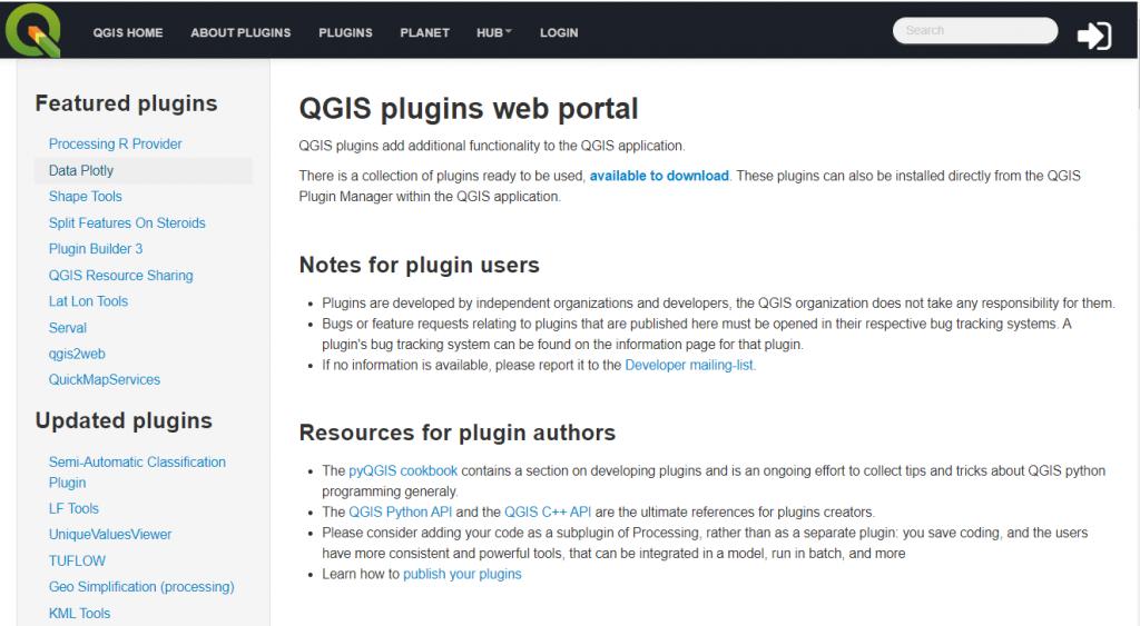 Portal oficial de plugins de QGIS