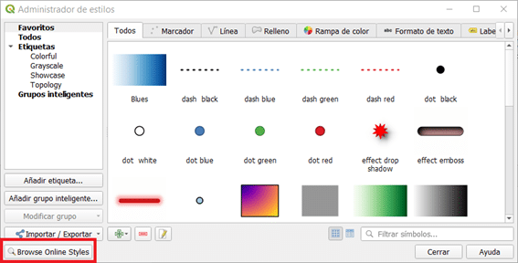Administrador de estilos QGIS 3.18