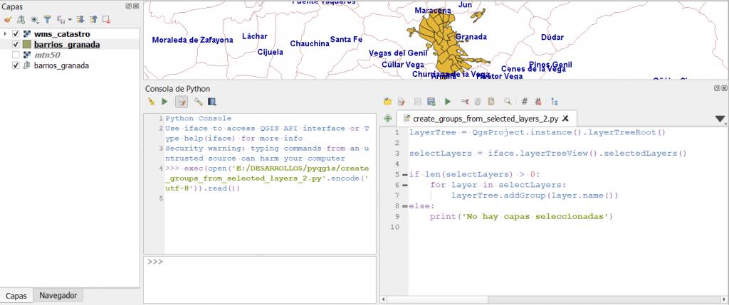 Script desde editor que permite la  personalización de QGIS con Python