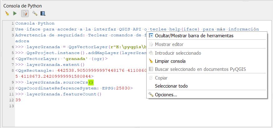 Consola de Python de QGIS