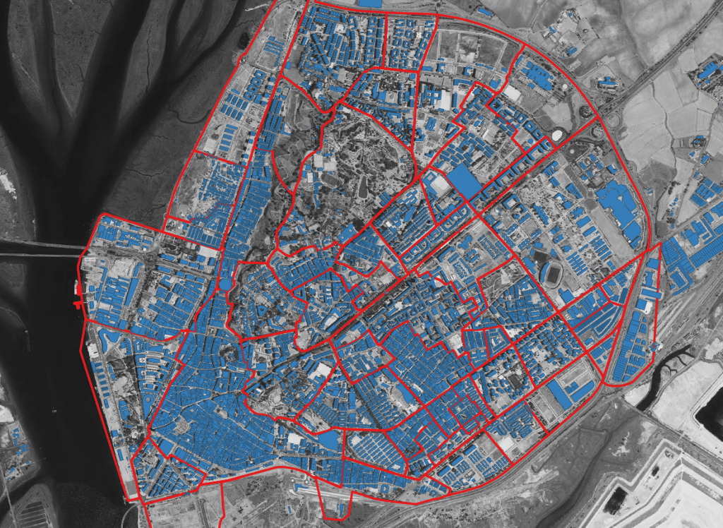 Edificaciones y barrios de Huelva