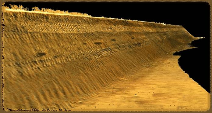Fig 3. Imagen resultado del escaneo del desmonte tras procesar la información recopilada por el Láser Escáner Terreste.