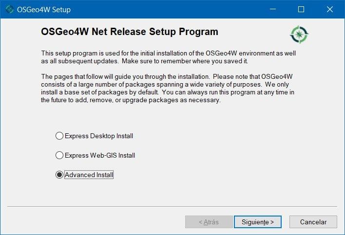 instalación avanzada QGIS -paso 1