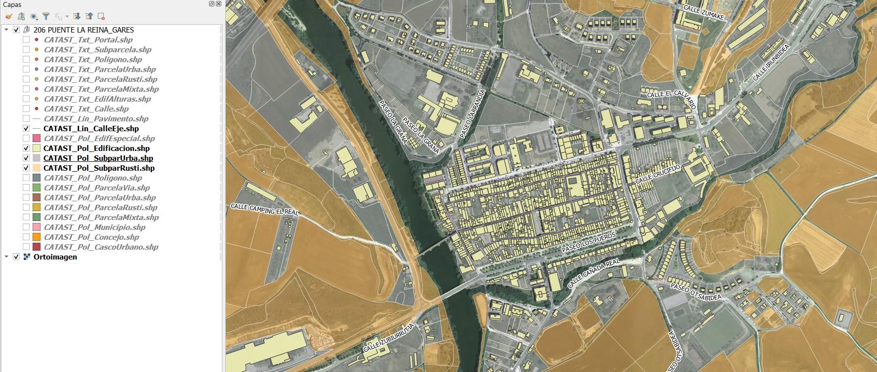 Plugin QGIS para descarga de la cartografía catastral de Navarra