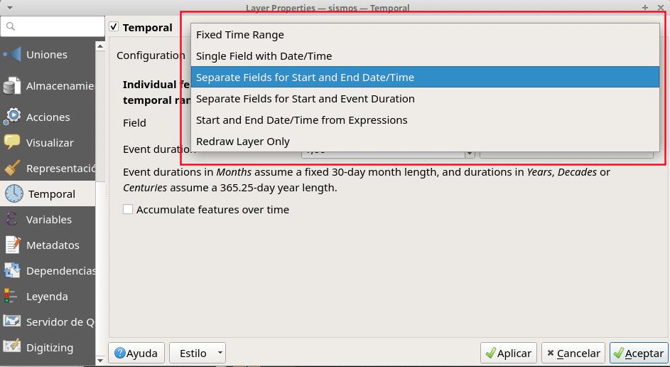 Opciones de selección de campos con dato temporal