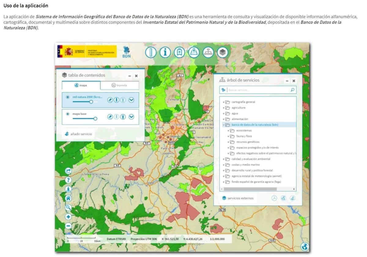 Los visores cartográficos del Banco de Datos de la Naturaleza integran información variada para el usuario
