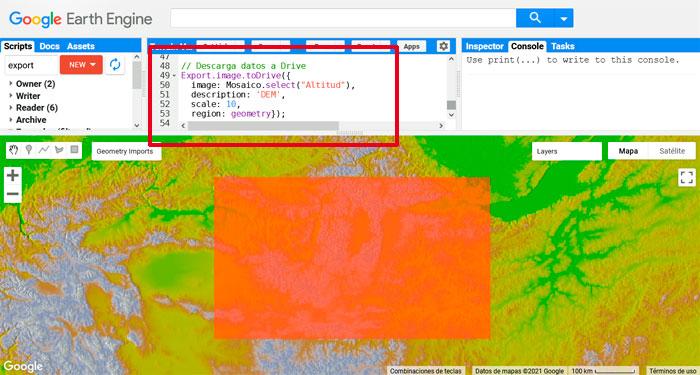 Exportacion de cartografia ambiental en Google Earth Engine
